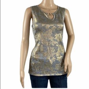 BYDESIGN Silver and Gold Metallic Tank Top Small